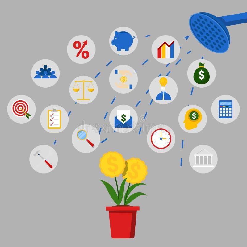 Concept d'investissement et d'épargne avec l'arbre de douche et d'argent illustration stock