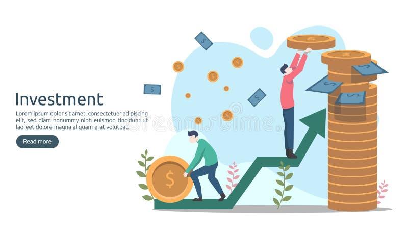 Concept d'investissement productif pièce de monnaie de pile du dollar, personnes minuscules, objet d'argent augmentation graphiqu illustration stock