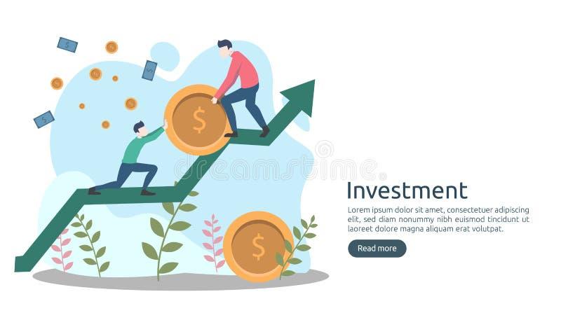 Concept d'investissement productif pi?ce de monnaie de pile du dollar, personnes minuscules, objet d'argent augmentation graphiqu illustration de vecteur