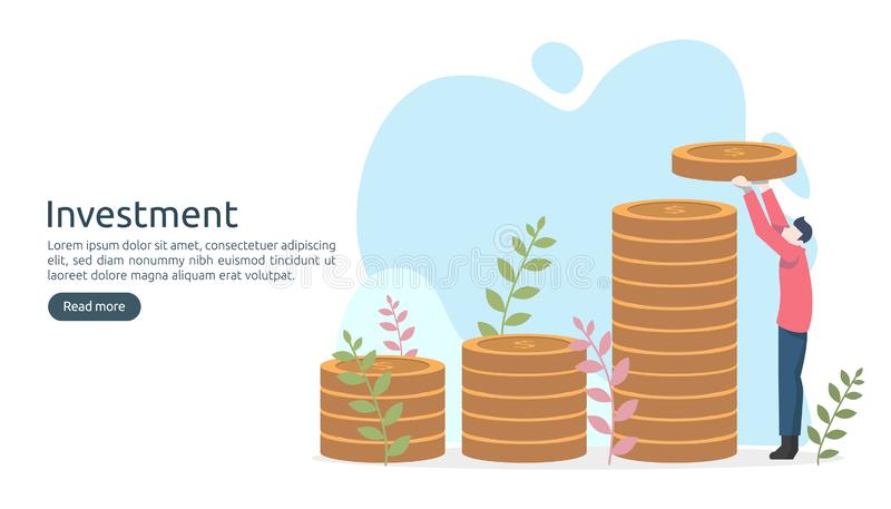 Concept d'investissement productif pi?ce de monnaie de pile du dollar, personnes minuscules, objet d'argent augmentation graphiqu illustration libre de droits