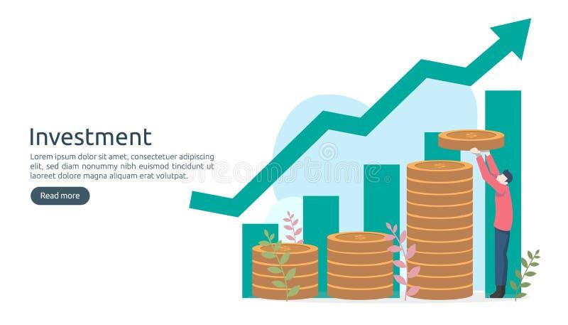 Concept d'investissement productif pi?ce de monnaie de pile du dollar, personnes minuscules, objet d'argent augmentation graphiqu illustration stock