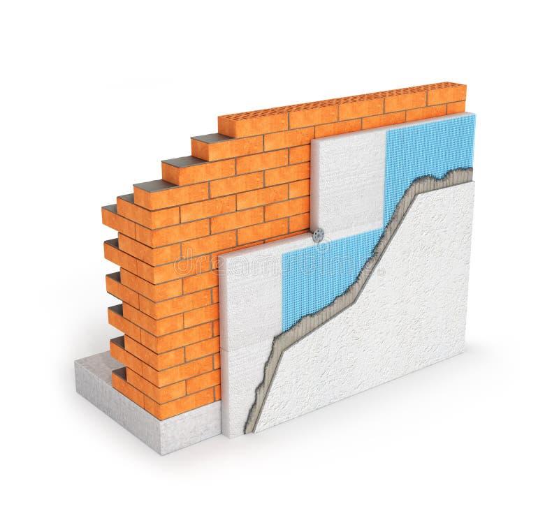 Concept d'isolement d'isolation thermique de mur de briques sur le fond blanc 3d illustration libre de droits