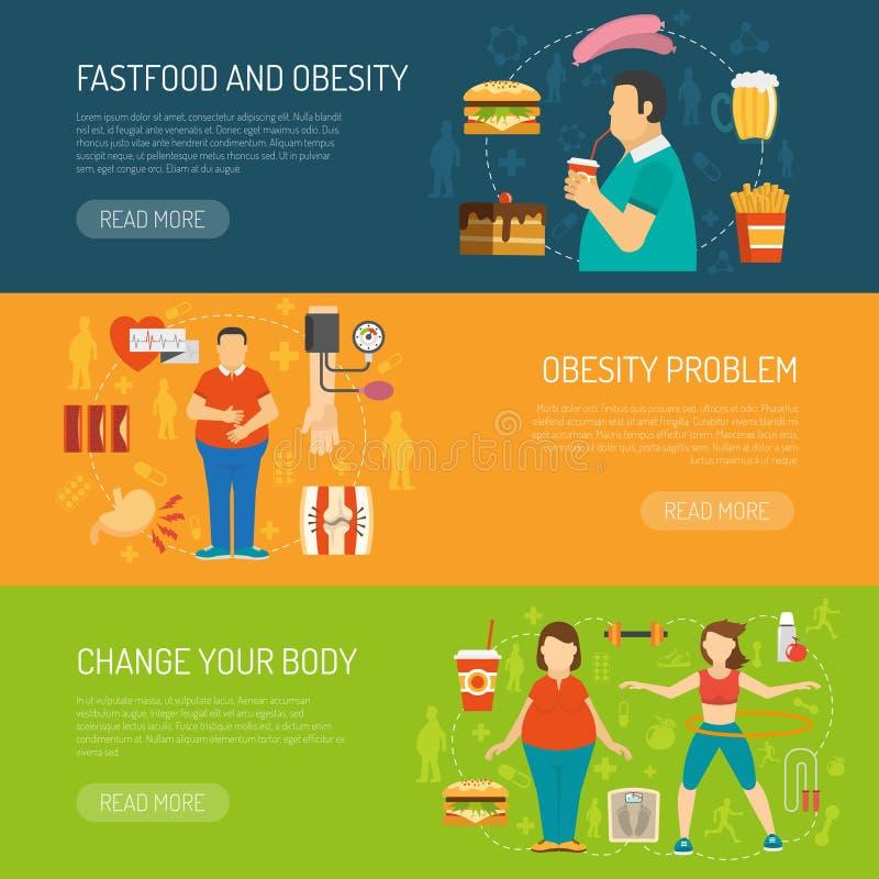 Concept d'obésité de bannières illustration libre de droits