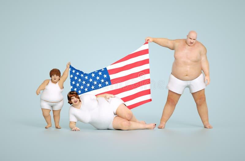 Concept d'obésité des USA illustration stock