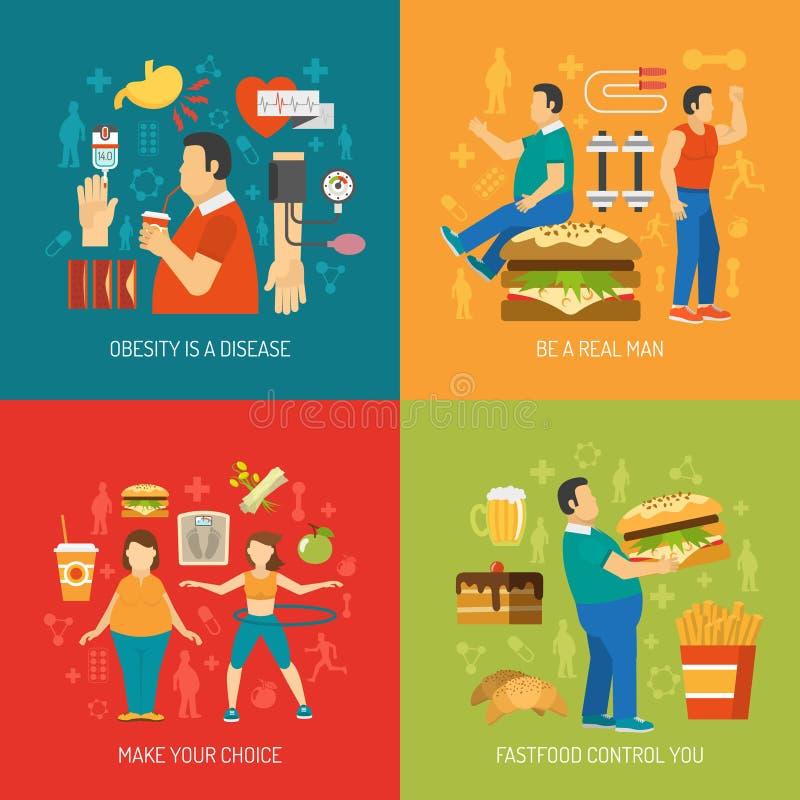 Concept d'obésité plat illustration de vecteur