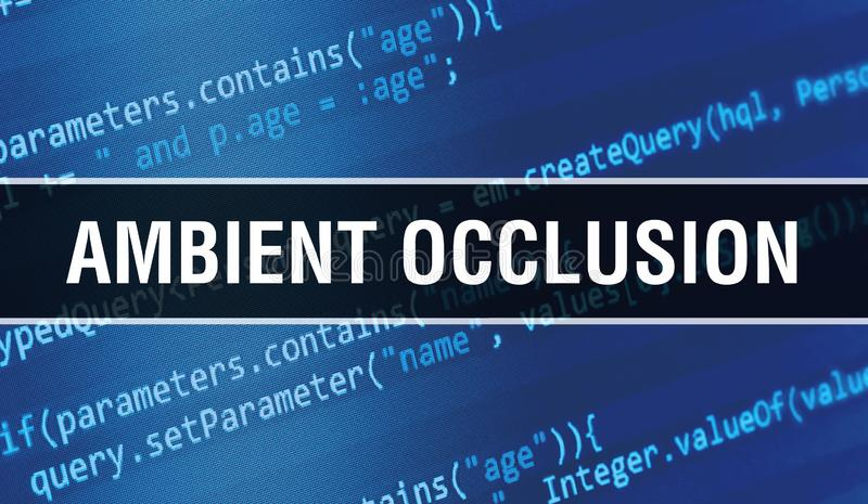 Concept d'occlusion ambiante avec des parties aléatoires du code du programme Occlusion ambiante avec technologie abstraite de co image stock