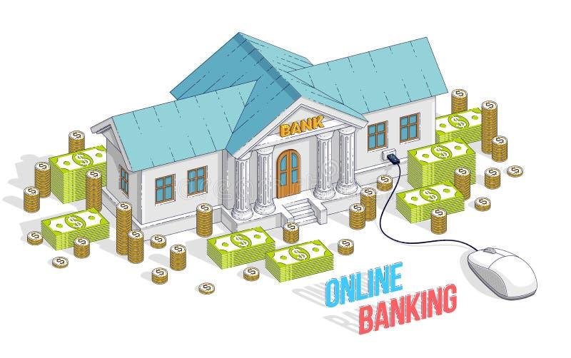 Concept d'opérations bancaires en ligne, édifice bancaire avec la souris d'ordinateur et Ca illustration stock