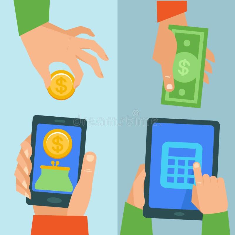 Concept d'opérations bancaires en ligne de vecteur illustration de vecteur