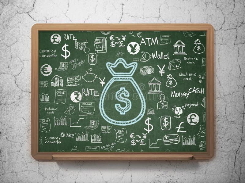 Concept d'opérations bancaires : Sac d'argent sur le fond de conseil pédagogique illustration de vecteur