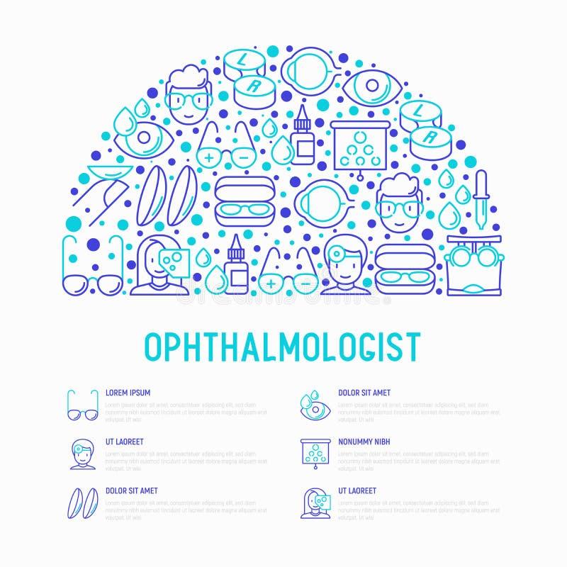 Concept d'ophtalmologue dans le demi-cercle illustration libre de droits