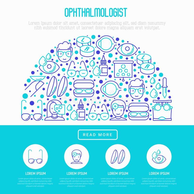Concept d'ophtalmologue dans le demi-cercle illustration stock