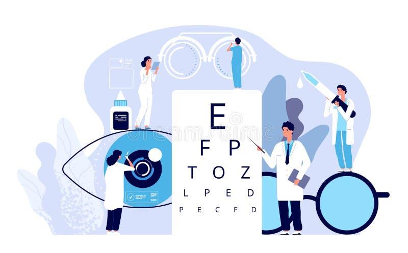 Concept d'ophthalmologie L'ophtalmologue vérifie la vue patiente Les yeux optiques examinent, technologie de lunettes Vecteur bon illustration libre de droits