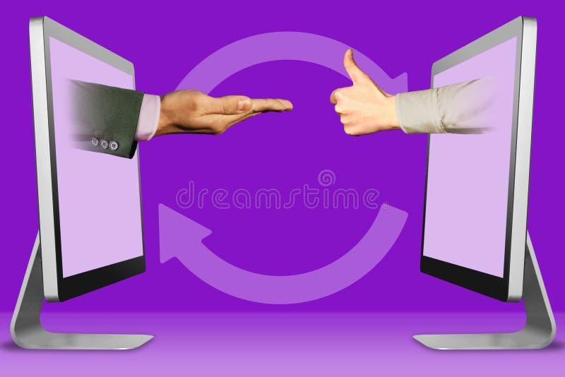 Concept d'ordinateur, deux mains des moniteurs en parlant en faveur le geste et les pouces, aimez illustration 3D photographie stock libre de droits