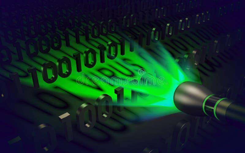 Concept d'ordinateur : la lampe-torche spéciale détecte le code malveillant photos libres de droits