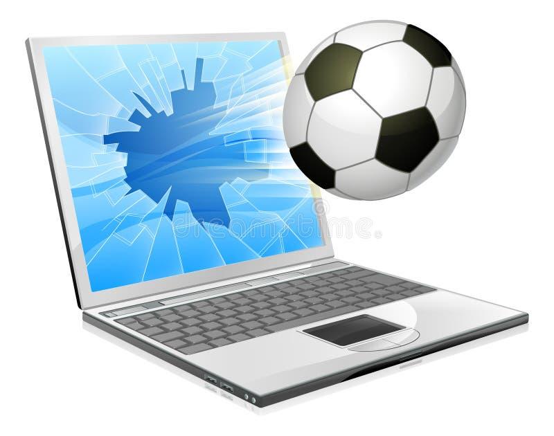 Concept d'ordinateur portatif du football du football illustration de vecteur