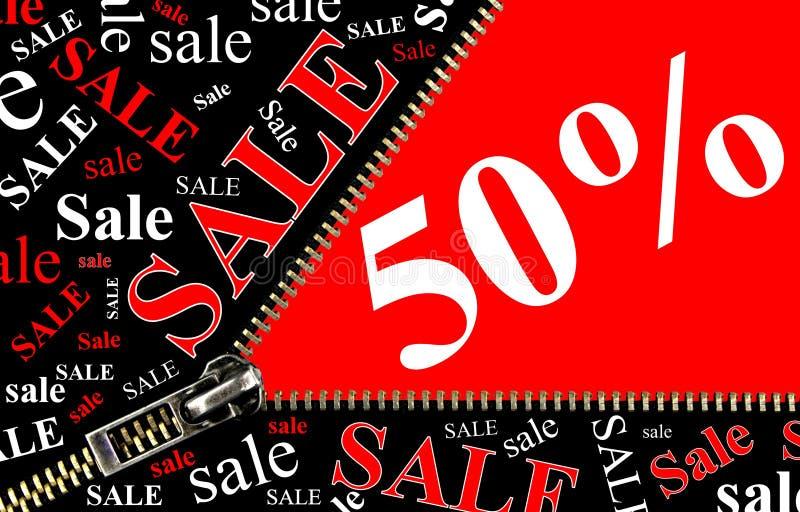 Concept d'ouverture de plaquette et de tirette de vente de 50% illustration stock