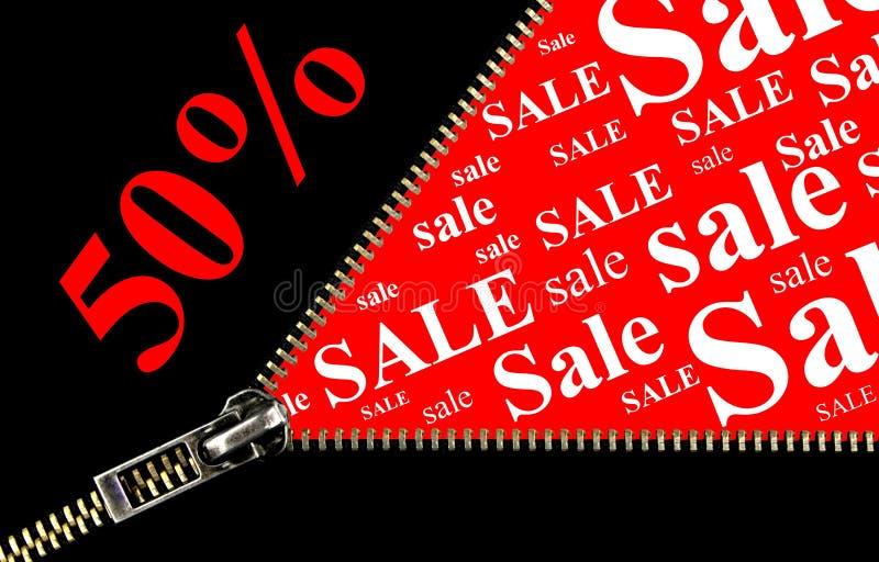 Concept d'ouverture de plaquette et de tirette de vente de 50% illustration de vecteur