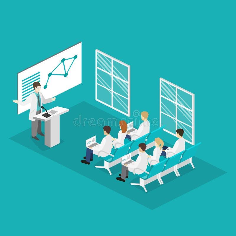 Concept 3D plat isométrique de la formation de recherches de clinique de médecin de conférence illustration libre de droits