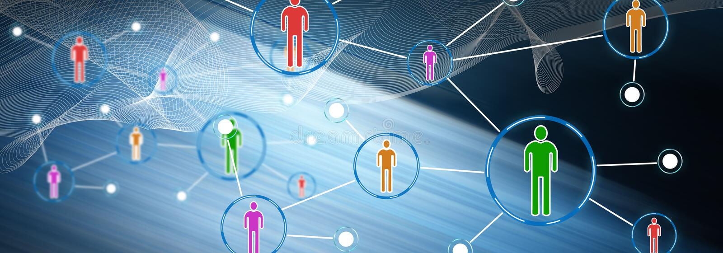 Concept d'un réseau social de media illustration libre de droits