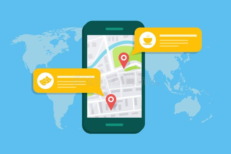 Concept d'une carte ou d'un navigateur mobile Zone de dialogue automatique avec la description d'objet sur la carte illustration de vecteur