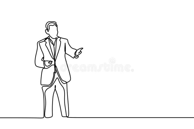 Concept d'une position d'homme et de la présentation devant dessin au trait continu assistance un d'isolement sur le fond blanc illustration libre de droits