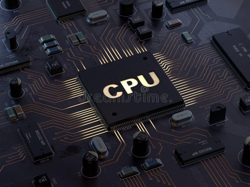Concept d'unité centrale de traitement de processeurs d'ordinateur central illustration libre de droits