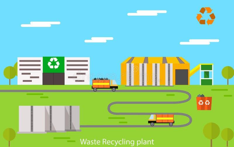 Concept d'usine de réutilisation illustration stock