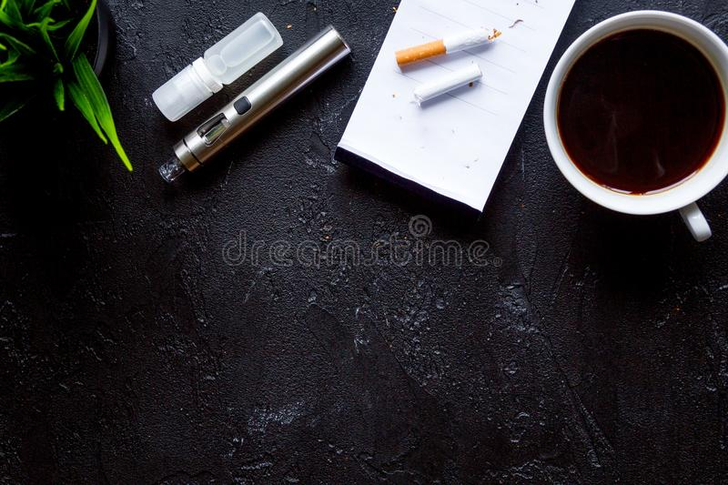 Concept - dangers of smoking and electronic cigarette top view royalty free stock photo