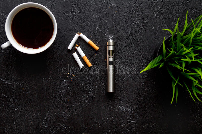 Concept - dangers of smoking and electronic cigarette top view stock photo