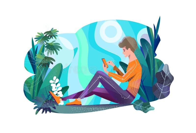 Concept dans le style plat Jeune homme s'asseyant en parc et causerie photo libre de droits