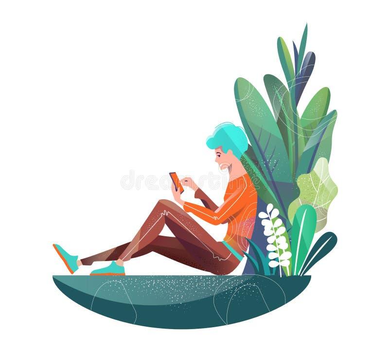 Concept dans le style plat Jeune homme s'asseyant en parc et causerie photo stock