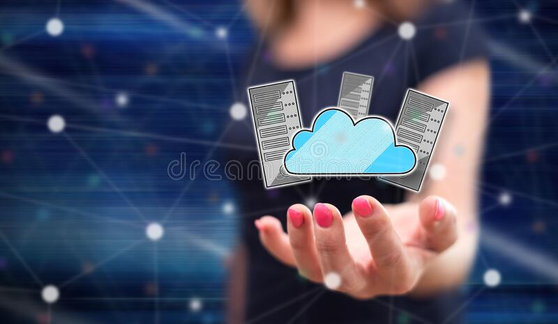 Concept of data center. Data center concept above the hand of a woman in background stock photos