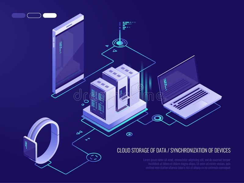 Concept of data network management .Vector isometric map with business networking servers, computers and devices.Cloud. Storage data and synchronization of stock illustration