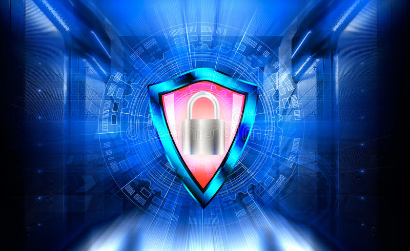 Concept of data protection information centres. Shield and padlock. Protected server hardware. stock illustration