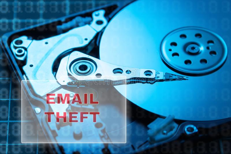 concept of data theft. HDD. Breaking mail, saving letters to your hard drive stock photos