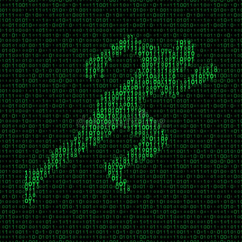 Concept of data transfer speed. runner silhouette on binary background stock illustration