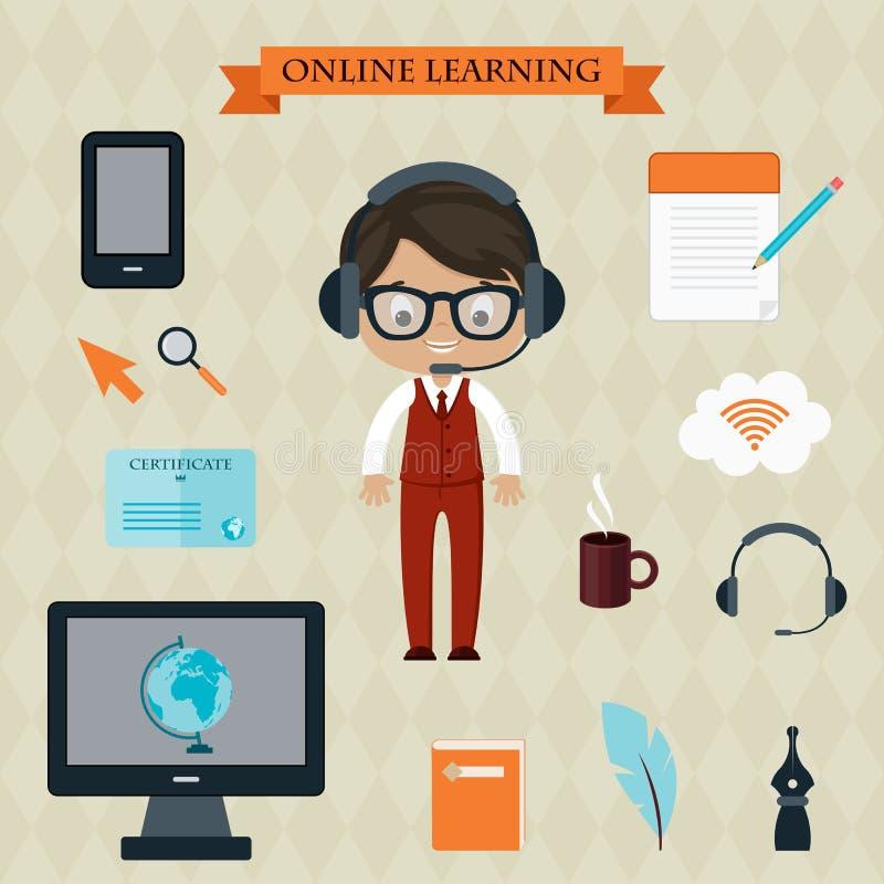 Download Concept de étude en ligne illustration de vecteur. Illustration du café - 45369877