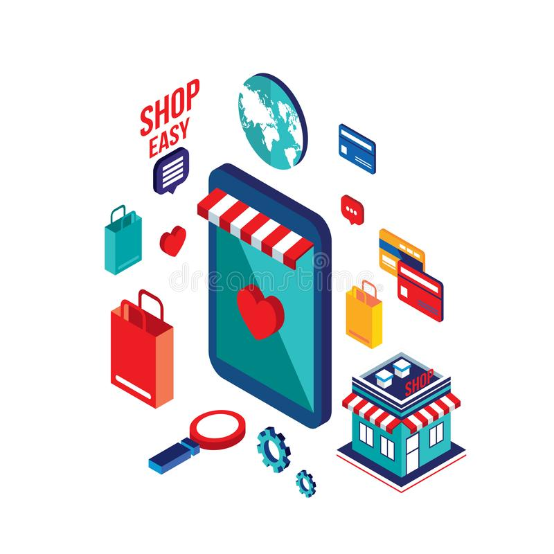 Concept de achat en ligne de commerce électronique de paiement mobile isométrique plat de la conception 3d illustration libre de droits