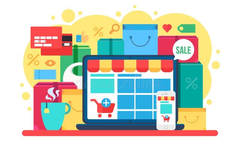 Concept de achat en ligne pour le magasin de détail sur l'ordinateur portable illustration de vecteur