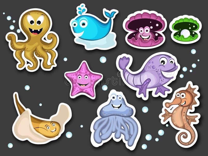 Concept de bande dessinée drôle mignonne d'animaux de l'eau illustration de vecteur