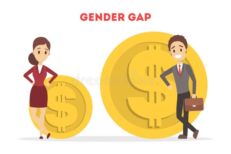 Concept de banni?re de Web d'espace de genre Id?e de salaire diff?rent illustration de vecteur