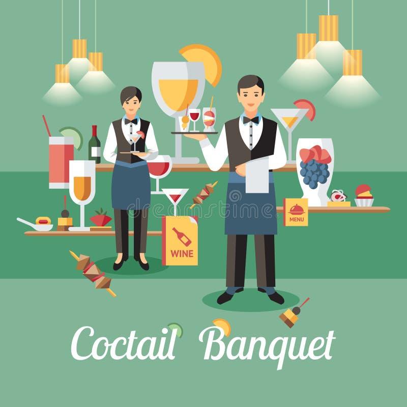 Concept de banquet de Coctail Illustration plate de vecteur illustration stock