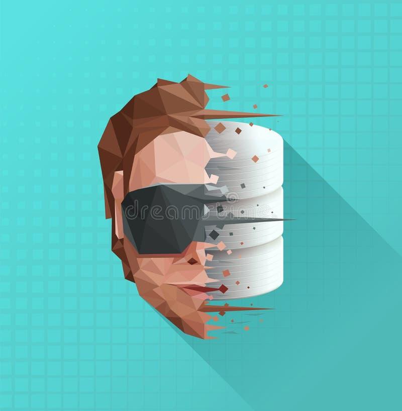 Concept de base de données d'esprit de Digital illustration libre de droits