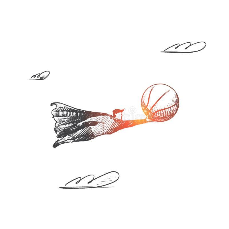 Concept de basket-ball Vecteur d'isolement tiré par la main illustration de vecteur