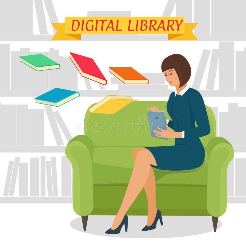Concept de bibliothèque de Digital illustration libre de droits