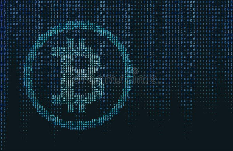 Concept de Bitcoin de code binaire de vecteur illustration stock
