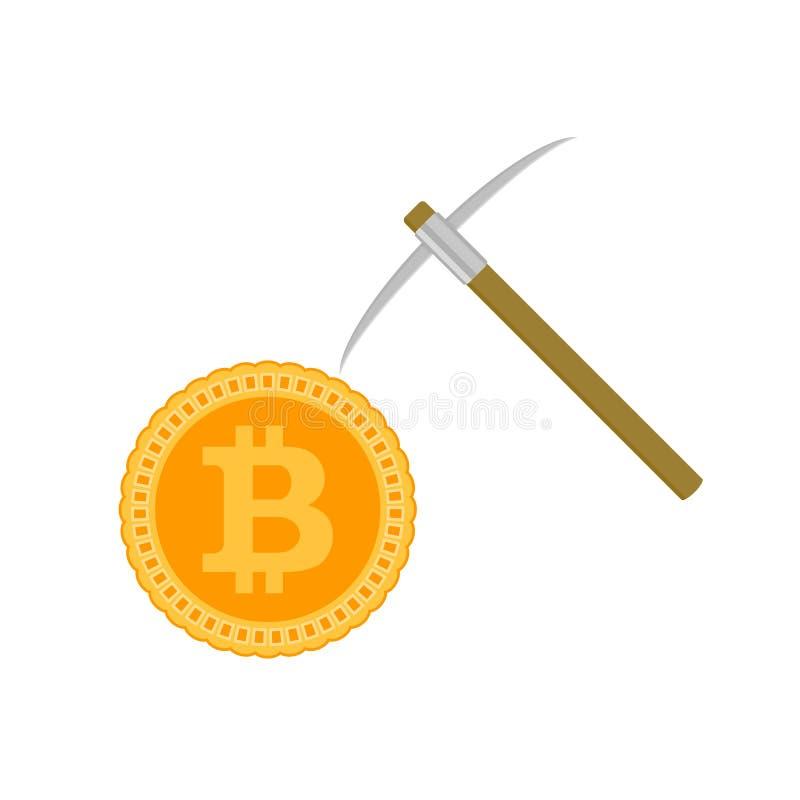Concept de bitcoin d'exploitation Vecteur de pièce de monnaie et de sélection illustration de vecteur