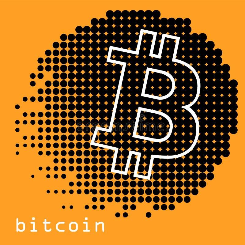 Concept de Bitcoin Soupir de logo de Cryptocurrency Argent de Digital Chaîne de bloc, symbole de finances Illustration plate de v illustration stock