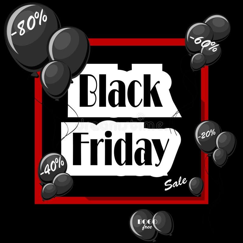 Concept de Black Friday avec les ballons noirs et le cadre rouge carré illustration libre de droits