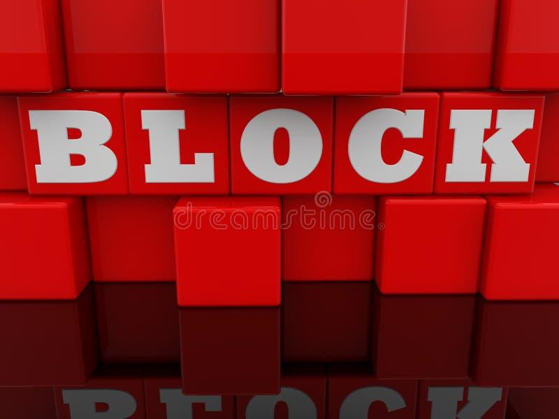 Concept de bloc sur le mur abstrait des cubes rouges en jouet illustration stock